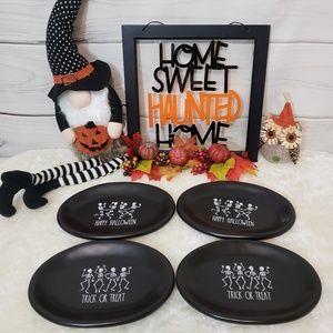 Rae Dunn 4pc Happy Halloween Skeleton Plate Set
